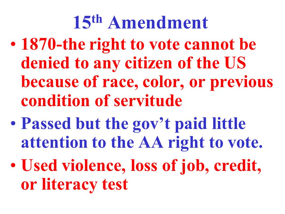 Civil Rights Act of 1957 Civil Rights Commission-to look into claims of voter discrimination 1960-federal voting referees to help people to vote in federal elections