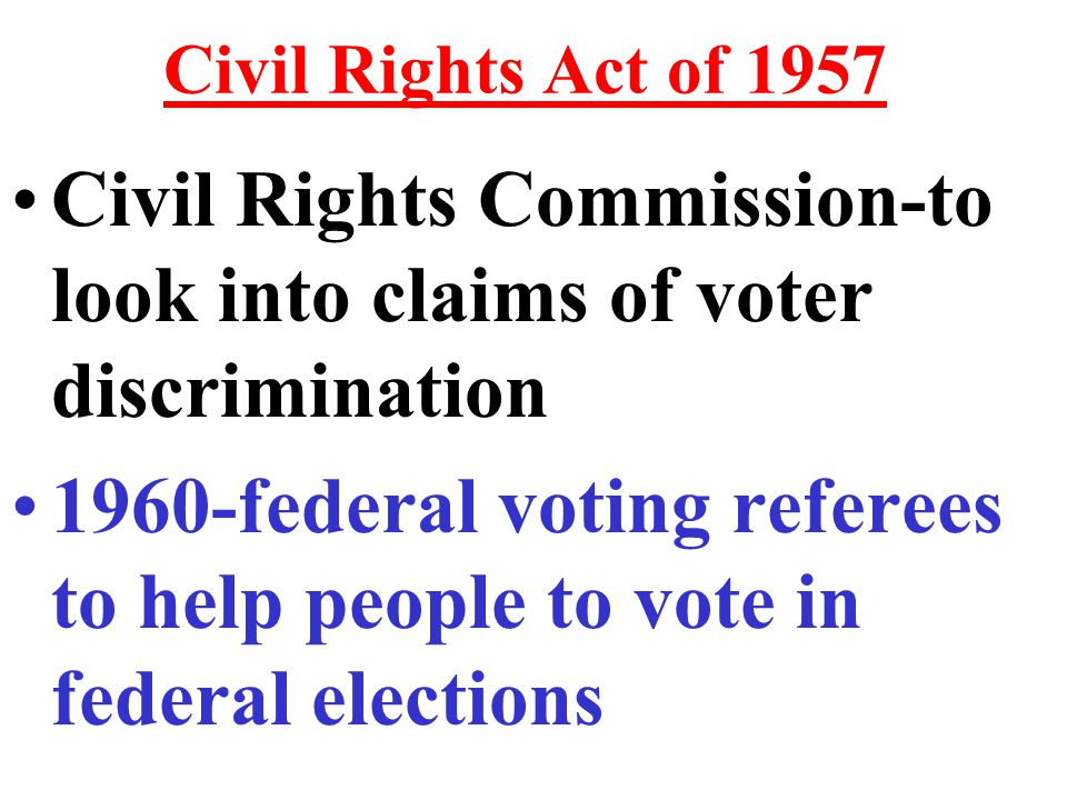 Civil Rights Act of 1964 Cannot use any registration requirement to be unfair or discriminatory