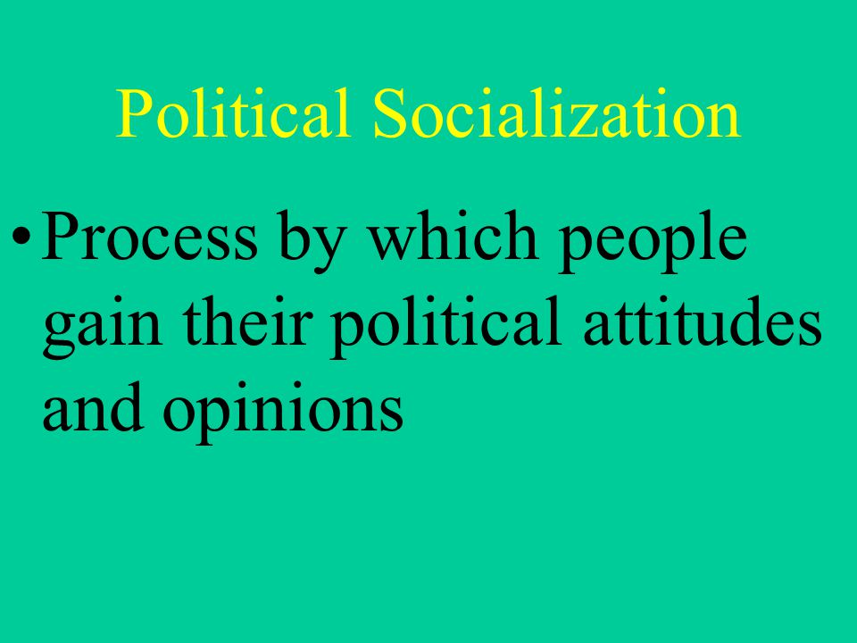 Political Socialization Process by which people gain their political attitudes and opinions