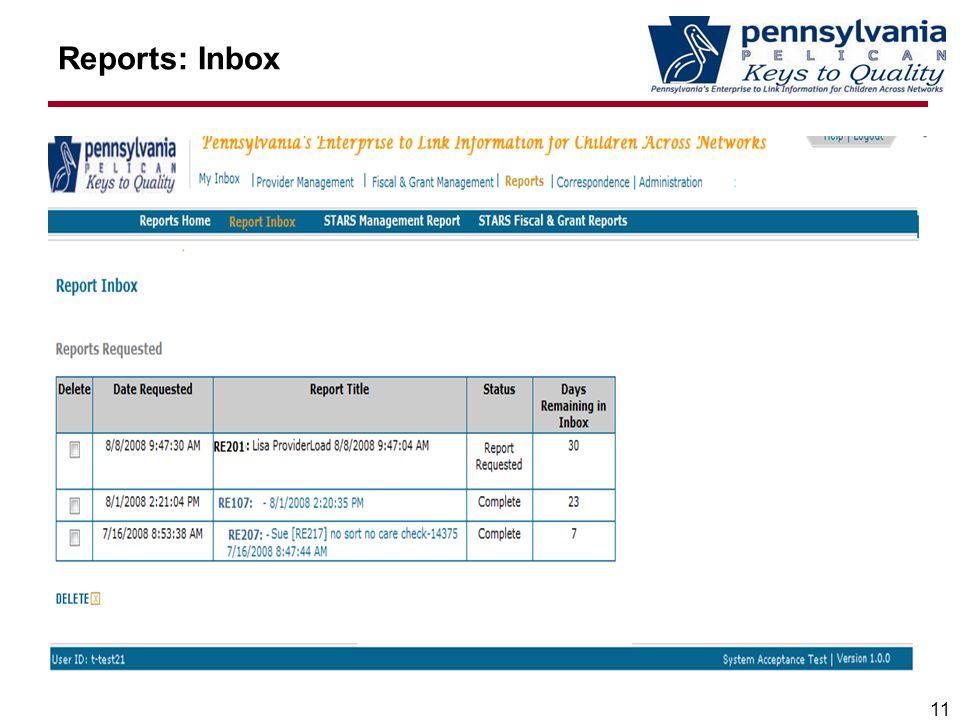 Reports: Inbox 11