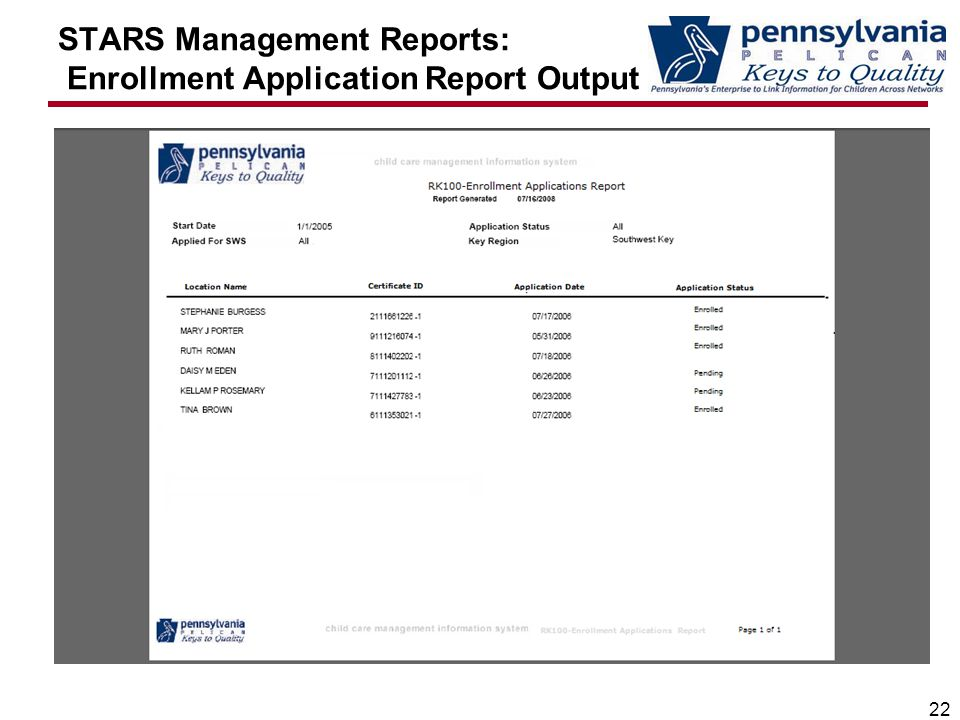 STARS Management Reports: Enrollment Application Report Output 22