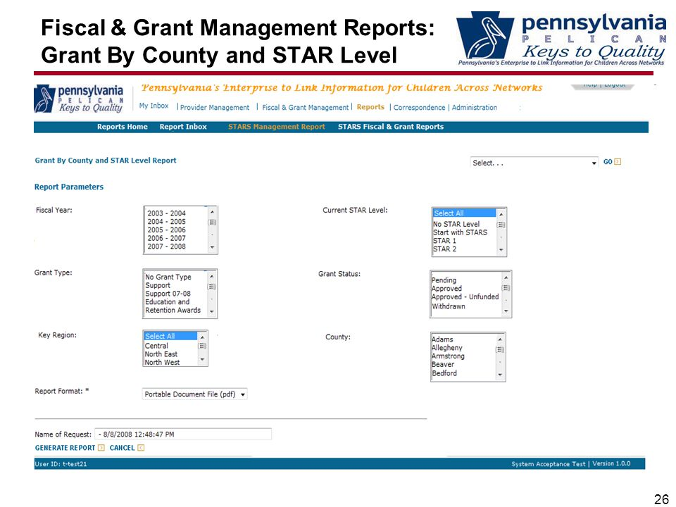 Fiscal & Grant Management Reports: Grant By County and STAR Level 26
