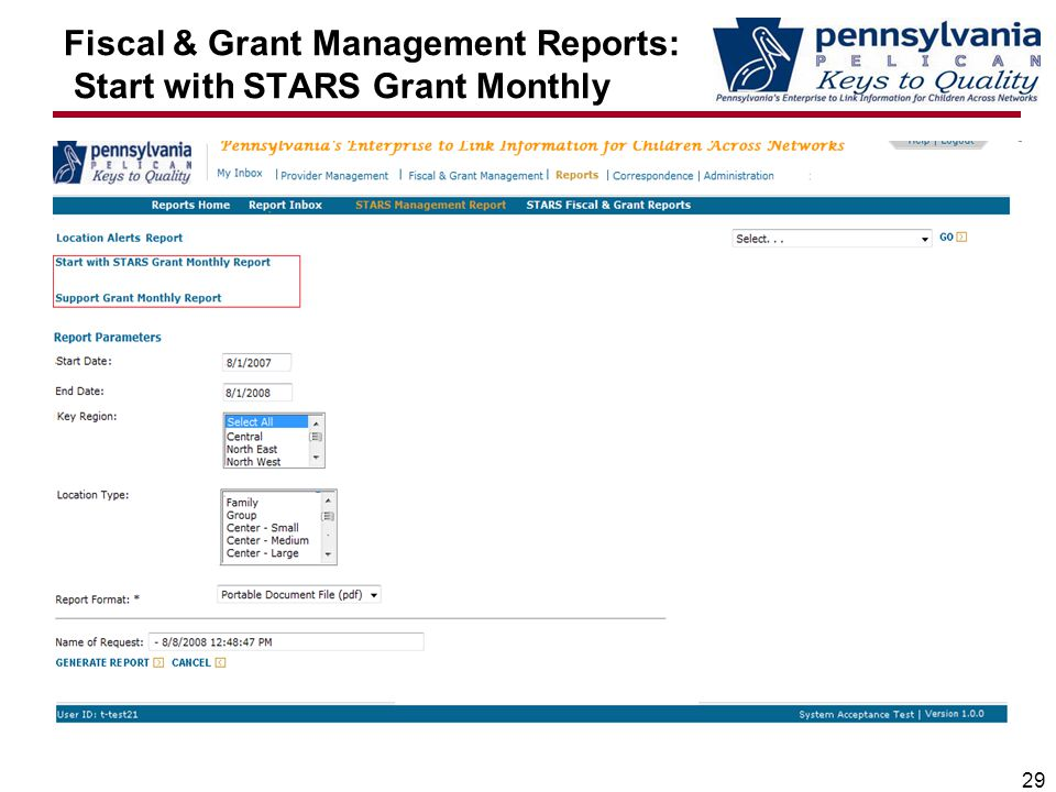 Fiscal & Grant Management Reports: Start with STARS Grant Monthly 29