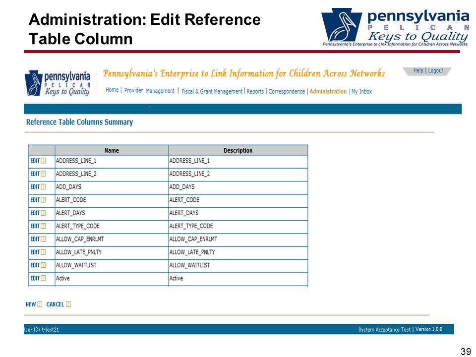 Administration: Edit Reference Table Column 39