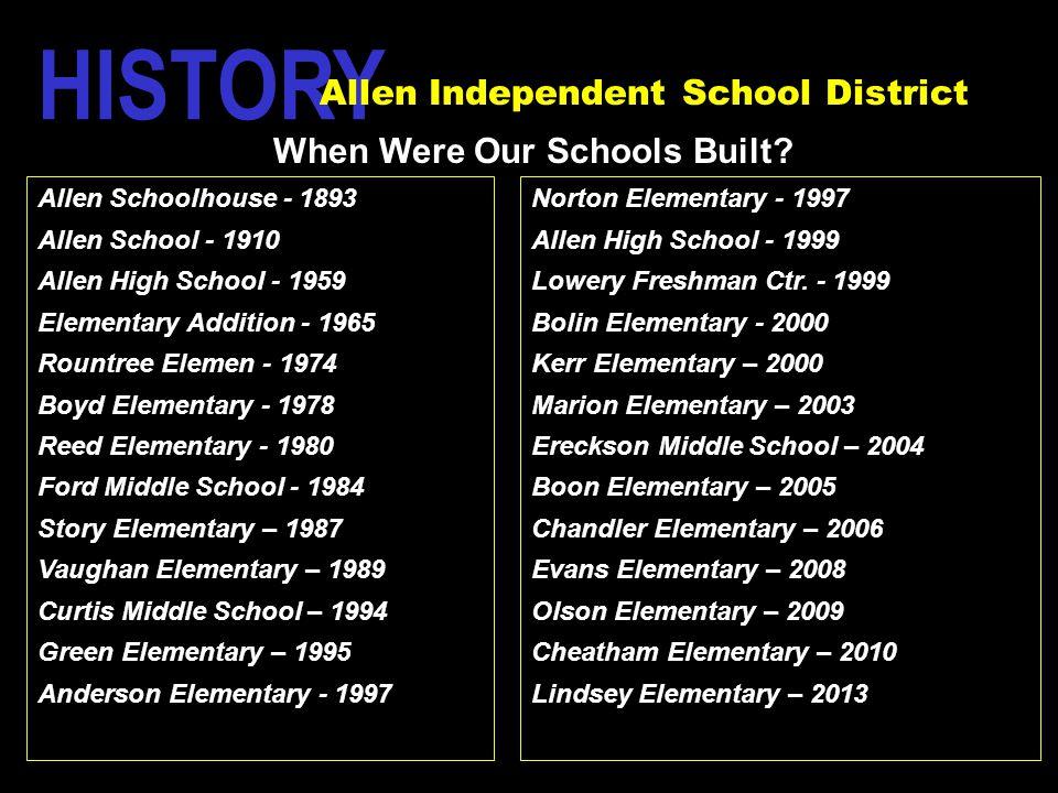 Allen Schoolhouse - 1893 Allen School - 1910 Allen High School - 1959 Elementary Addition - 1965 Rountree Elemen - 1974 Boyd Elementary - 1978 Reed El