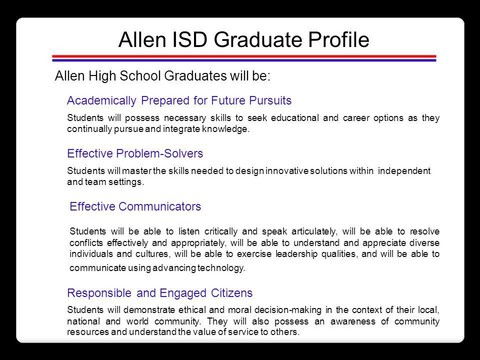 Allen ISD Graduate Profile Allen High School Graduates will be: Academically Prepared for Future Pursuits Students will possess necessary skills to se