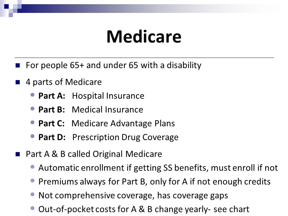 Medicare For people 65+ and under 65 with a disability 4 parts of Medicare Part A: Hospital Insurance Part B: Medical Insurance Part C: Medicare Advan