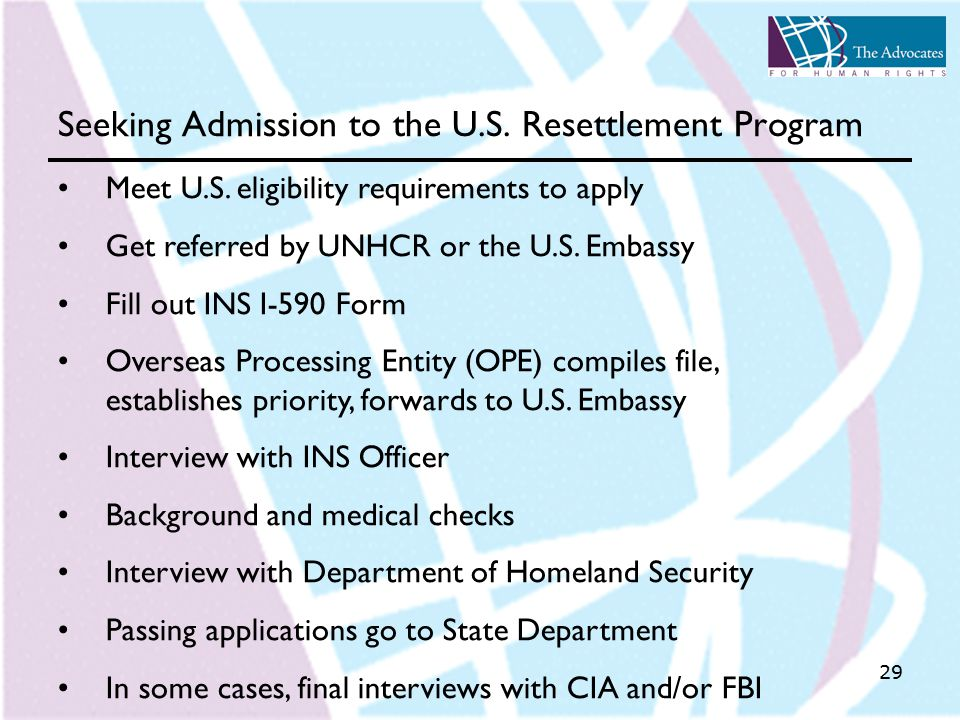 29 Seeking Admission to the U.S. Resettlement Program Meet U.S.
