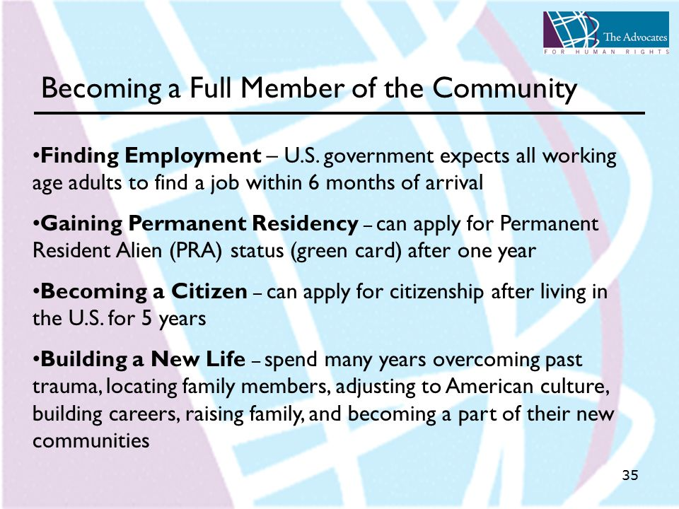 35 Becoming a Full Member of the Community Finding Employment – U.S.