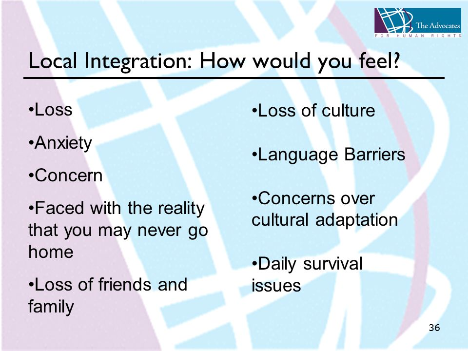 36 Local Integration: How would you feel.