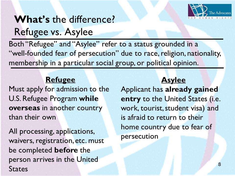 8 What's the difference. Refugee vs. Asylee Refugee Must apply for admission to the U.S.