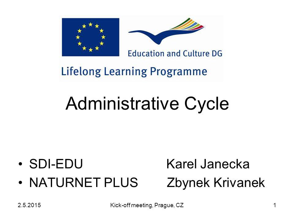2.5.2015Kick-off meeting, Prague, CZ1 Administrative Cycle SDI-EDU Karel Janecka NATURNET PLUS Zbynek Krivanek