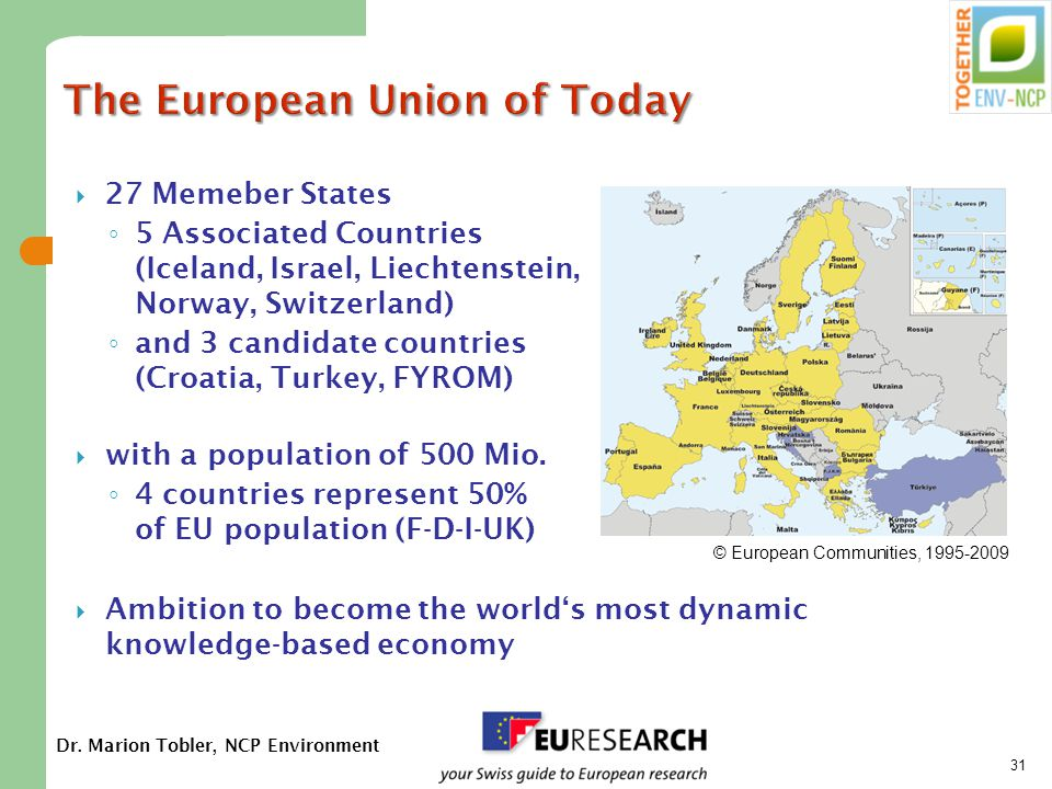 Dr. Marion Tobler, NCP Environment 31 The European Union of Today  27 Memeber States ◦ 5 Associated Countries (Iceland, Israel, Liechtenstein, Norway