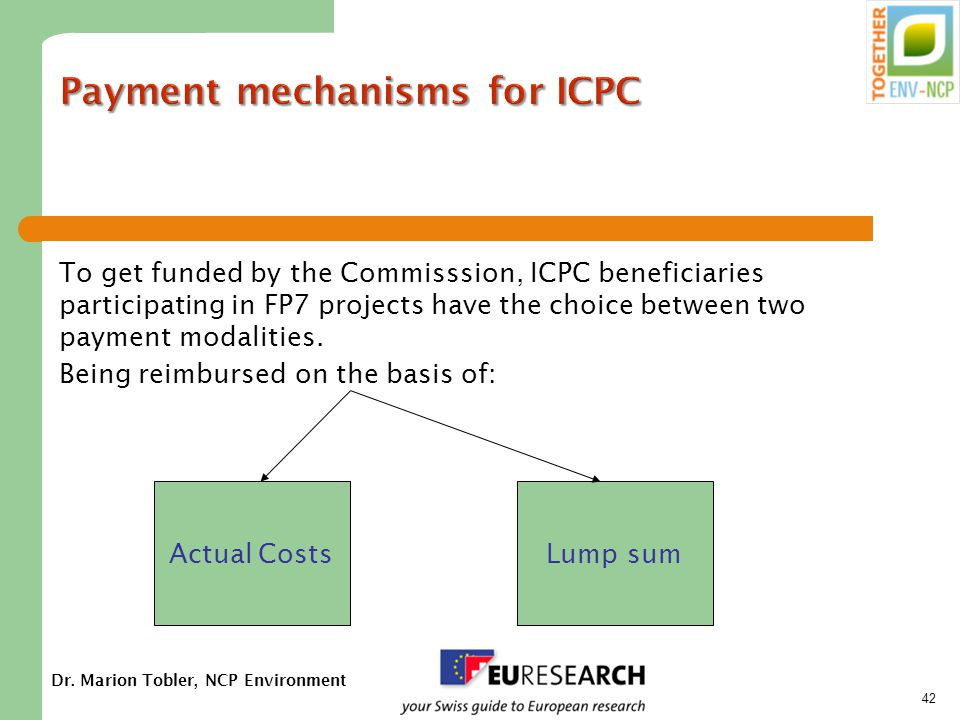 Dr. Marion Tobler, NCP Environment 42 Payment mechanisms for ICPC To get funded by the Commisssion, ICPC beneficiaries participating in FP7 projects h