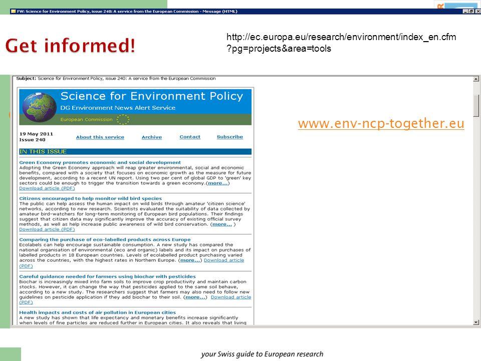 Dr. Marion Tobler, NCP Environment Get informed.