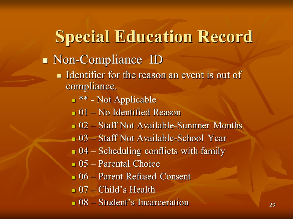 29 Special Education Record Non-Compliance ID Non-Compliance ID Identifier for the reason an event is out of compliance.