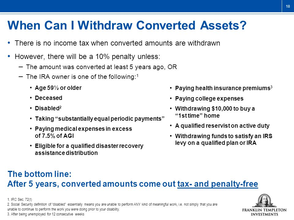 18 When Can I Withdraw Converted Assets.
