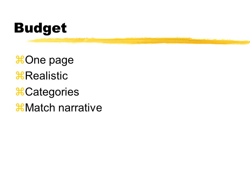 Budget  One page  Realistic  Categories  Match narrative