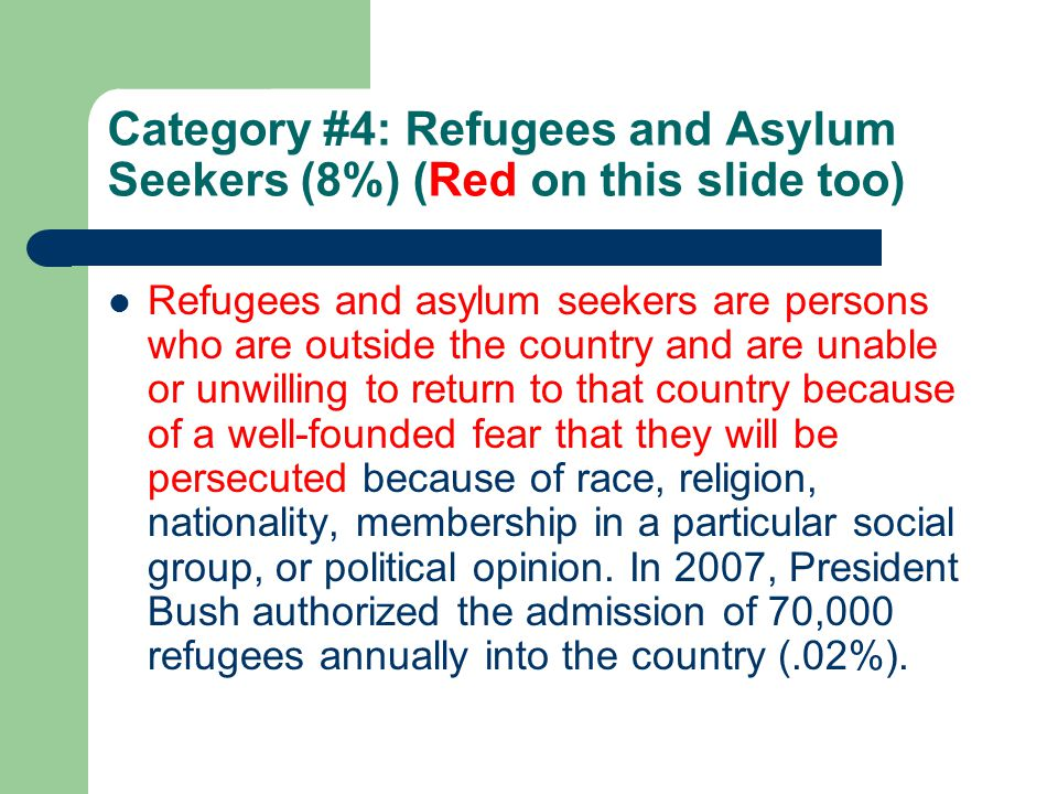 Category #4: Refugees and Asylum Seekers (8%) (Red on this slide too) Refugees and asylum seekers are persons who are outside the country and are unable or unwilling to return to that country because of a well-founded fear that they will be persecuted because of race, religion, nationality, membership in a particular social group, or political opinion.