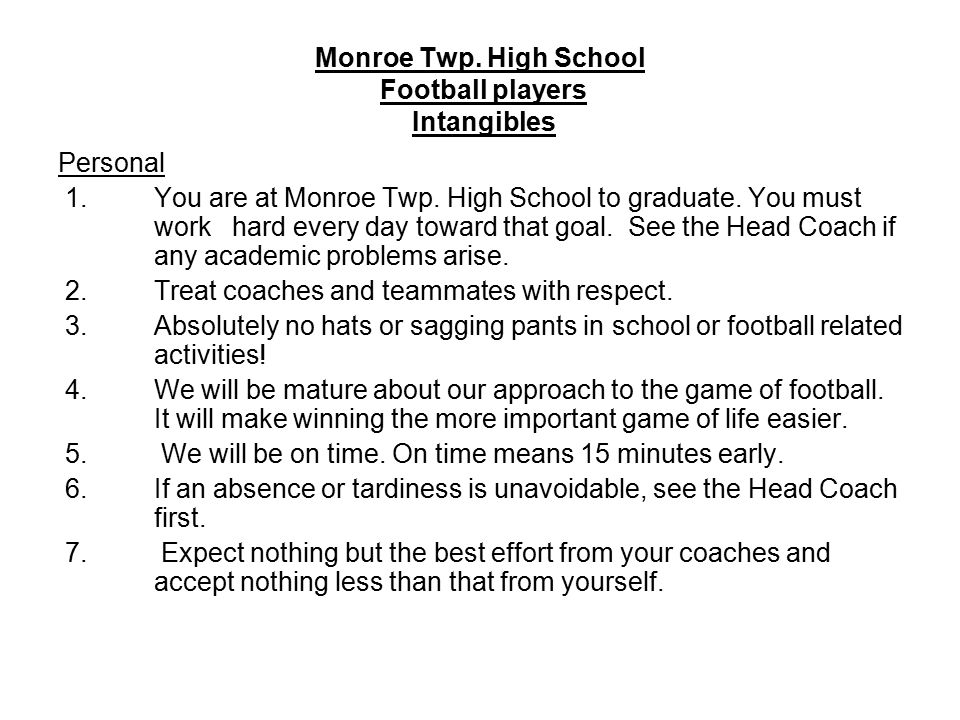 Monroe Twp. High School Football players Intangibles Personal 1.