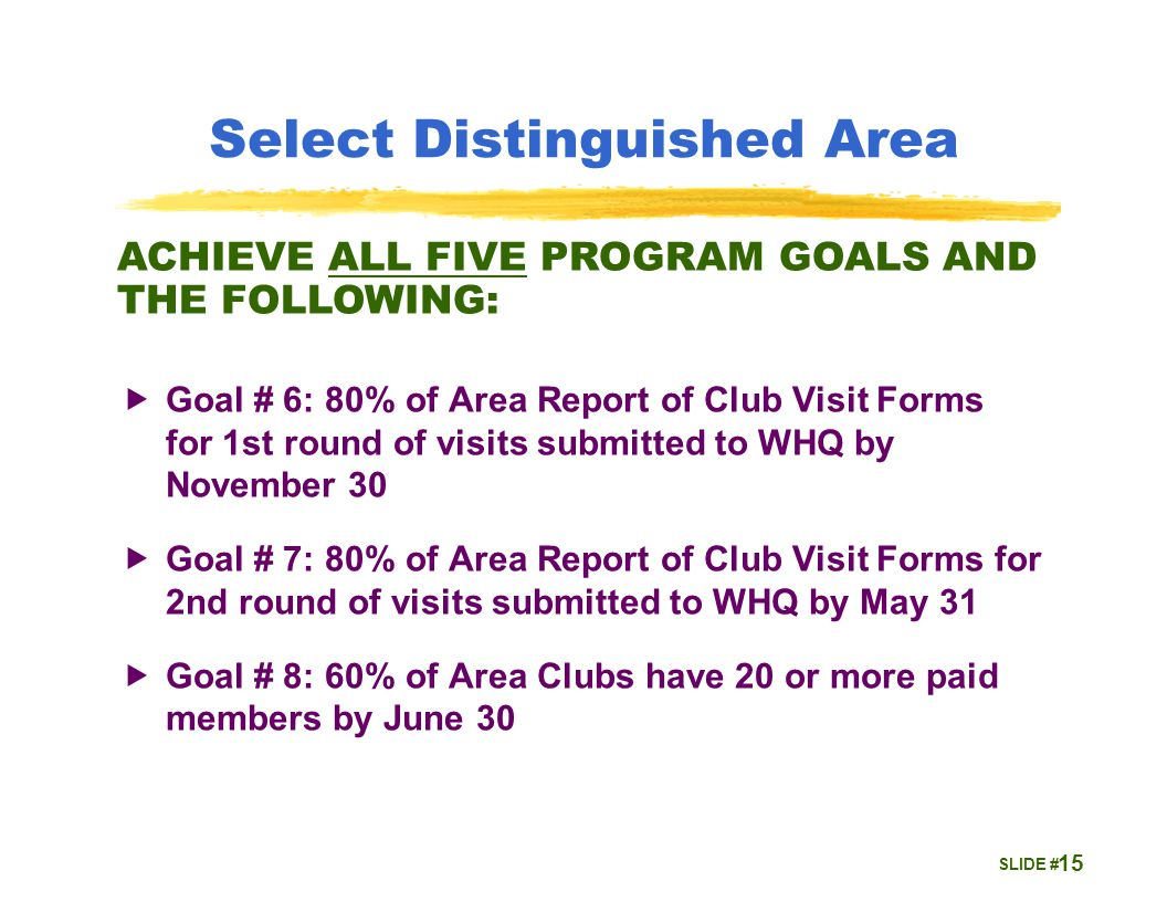 SLIDE # Select Distinguished Area  Goal # 6: 80% of Area Report of Club Visit Forms for 1st round of visits submitted to WHQ by November 30  Goal # 7: 80% of Area Report of Club Visit Forms for 2nd round of visits submitted to WHQ by May 31  Goal # 8: 60% of Area Clubs have 20 or more paid members by June 30 15 ACHIEVE ALL FIVE PROGRAM GOALS AND THE FOLLOWING: