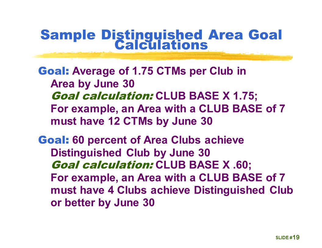 SLIDE # Sample Distinguished Area Goal Calculations Goal: Average of 1.75 CTMs per Club in Area by June 30 Goal calculation: CLUB BASE X 1.75; For example, an Area with a CLUB BASE of 7 must have 12 CTMs by June 30 Goal: 60 percent of Area Clubs achieve Distinguished Club by June 30 Goal calculation: CLUB BASE X.60; For example, an Area with a CLUB BASE of 7 must have 4 Clubs achieve Distinguished Club or better by June 30 19