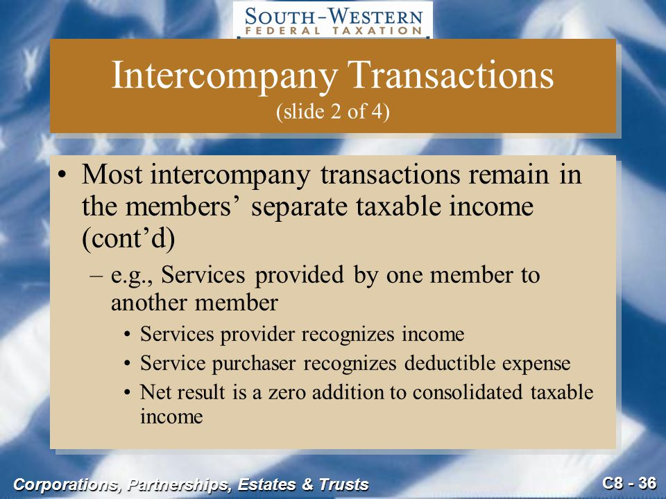 C8 - 36 Corporations, Partnerships, Estates & Trusts Intercompany Transactions (slide 2 of 4) Most intercompany transactions remain in the members' se
