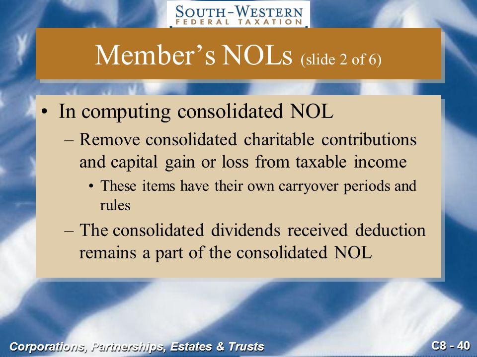 C8 - 40 Corporations, Partnerships, Estates & Trusts Member's NOLs (slide 2 of 6) In computing consolidated NOL –Remove consolidated charitable contri