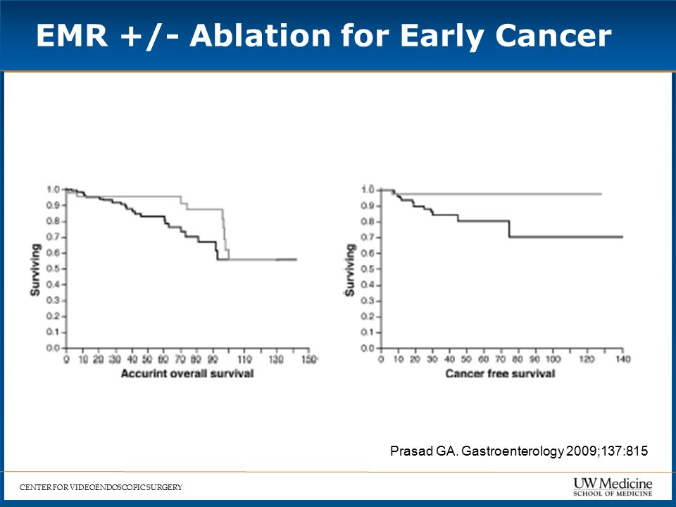 CENTER FOR VIDEOENDOSCOPIC SURGERY EMR +/- Ablation for Early Cancer = Prasad GA.