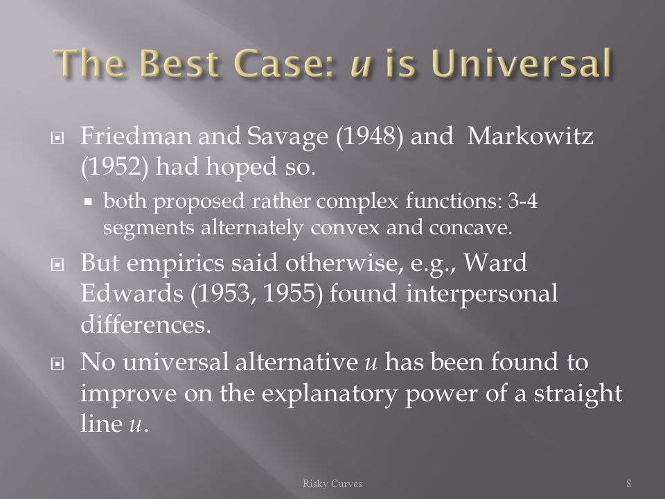  Friedman and Savage (1948) and Markowitz (1952) had hoped so.