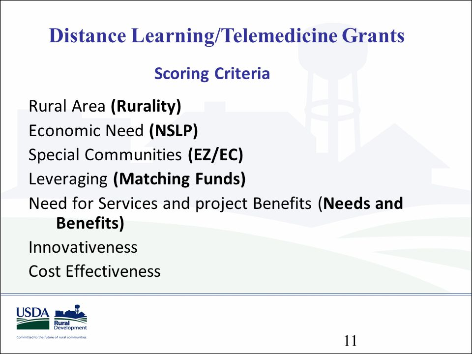 Distance Learning/Telemedicine Grants Scoring Criteria Rural Area (Rurality) Economic Need (NSLP) Special Communities (EZ/EC) Leveraging (Matching Fun