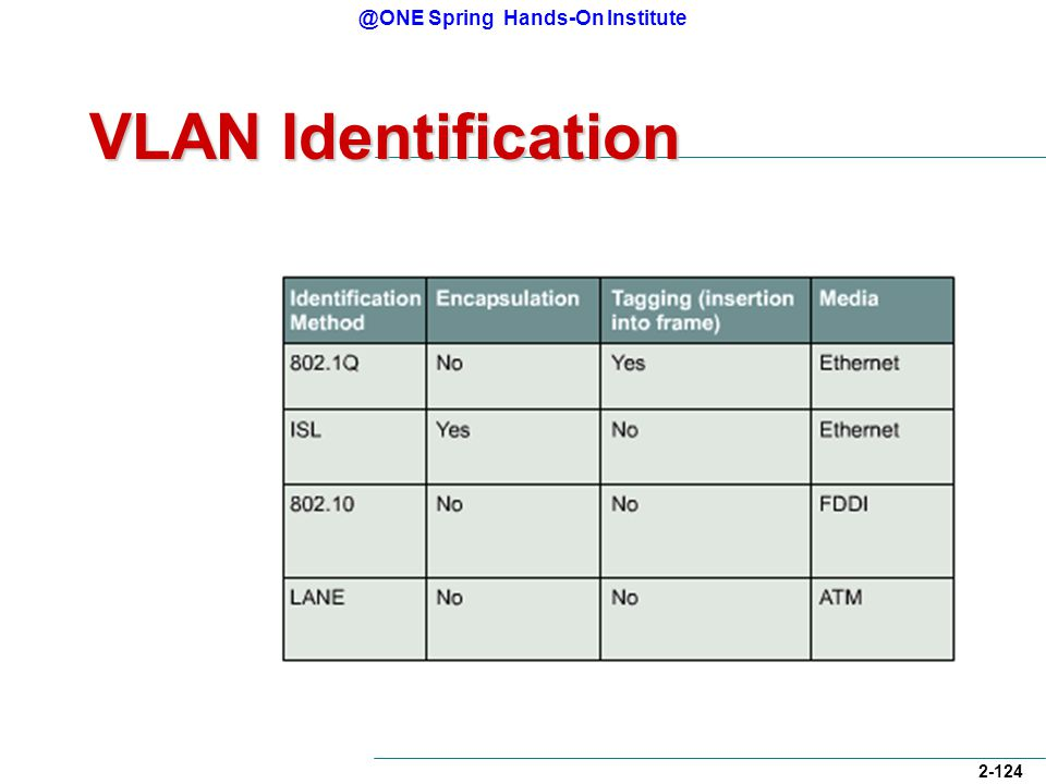 @ONE Spring Hands-On Institute 2-124 VLAN Identification
