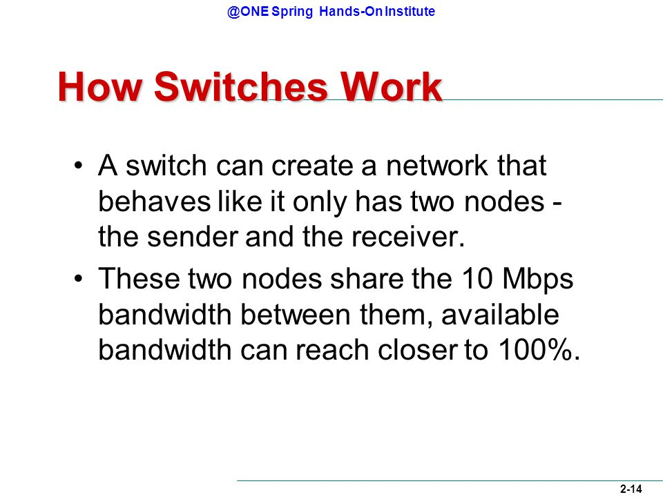 @ONE Spring Hands-On Institute 2-14 How Switches Work A switch can create a network that behaves like it only has two nodes - the sender and the receiver.