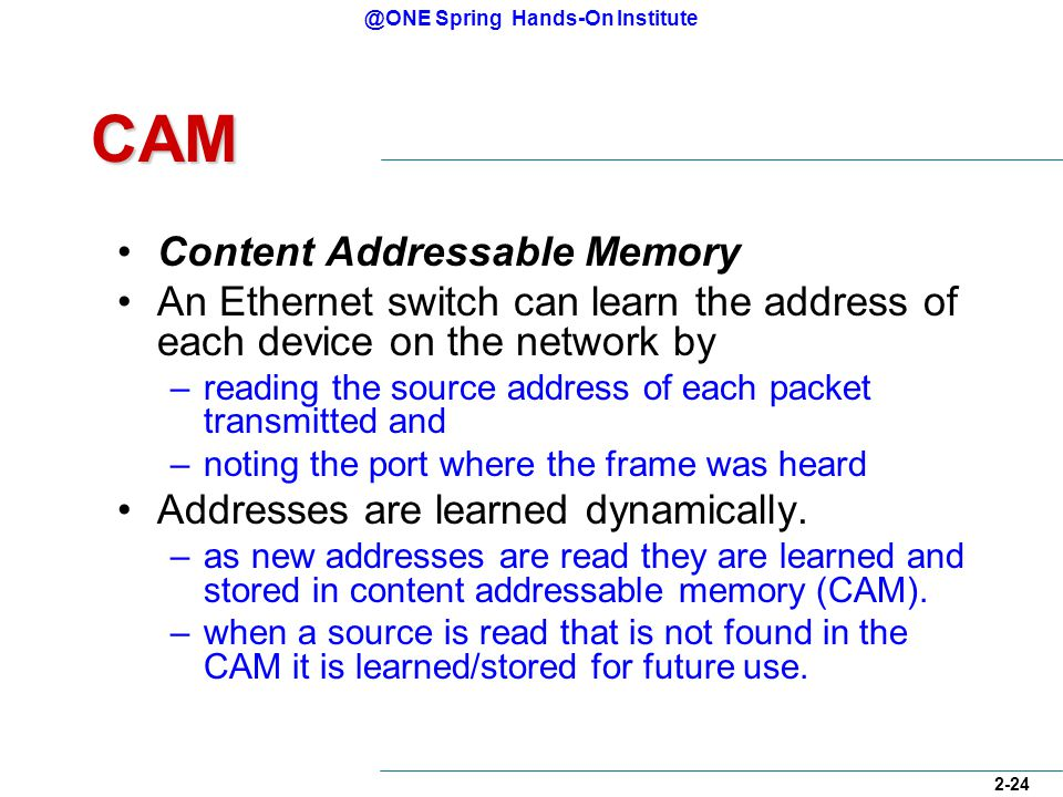 @ONE Spring Hands-On Institute 2-24 CAM Content Addressable Memory An Ethernet switch can learn the address of each device on the network by –reading the source address of each packet transmitted and –noting the port where the frame was heard Addresses are learned dynamically.