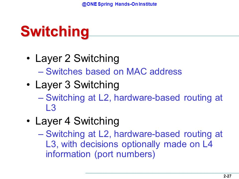 @ONE Spring Hands-On Institute 2-27 Switching Layer 2 Switching –Switches based on MAC address Layer 3 Switching –Switching at L2, hardware-based routing at L3 Layer 4 Switching –Switching at L2, hardware-based routing at L3, with decisions optionally made on L4 information (port numbers)