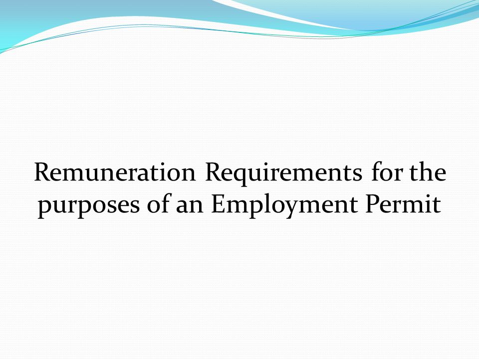 Remuneration Requirements for the purposes of an Employment Permit