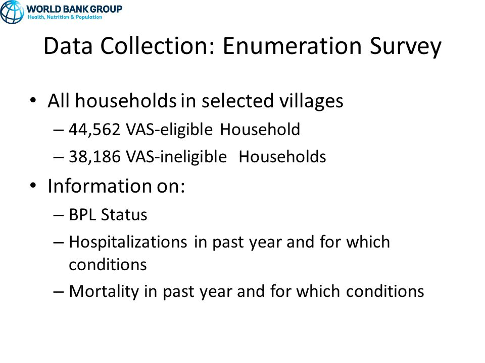 Data Collection: Enumeration Survey All households in selected villages – 44,562 VAS-eligible Household – 38,186 VAS-ineligible Households Information on: – BPL Status – Hospitalizations in past year and for which conditions – Mortality in past year and for which conditions