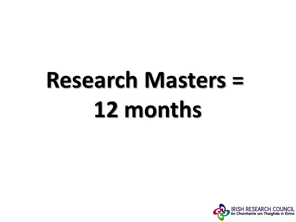 Research Masters = 12 months