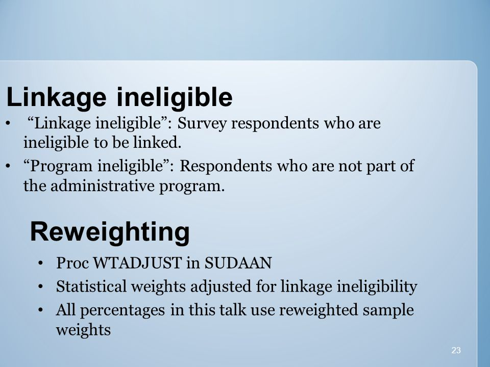 23 Linkage ineligible Linkage ineligible : Survey respondents who are ineligible to be linked.