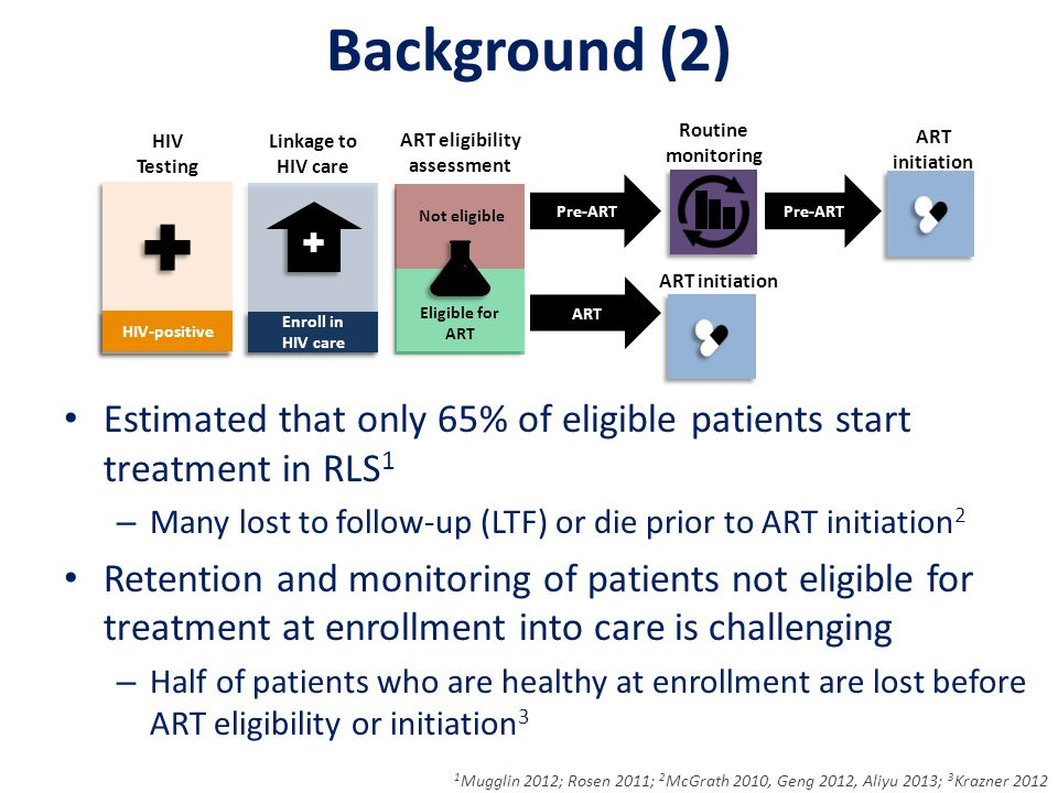 Background (2) Estimated that only 65% of eligible patients start treatment in RLS 1 – Many lost to follow-up (LTF) or die prior to ART initiation 2 Retention and monitoring of patients not eligible for treatment at enrollment into care is challenging – Half of patients who are healthy at enrollment are lost before ART eligibility or initiation 3 1 Mugglin 2012; Rosen 2011; 2 McGrath 2010, Geng 2012, Aliyu 2013; 3 Krazner 2012 HIV Testing ART eligibility assessment Linkage to HIV care Pre-ART ART Routine monitoring ART initiation Enroll in HIV care HIV-positive