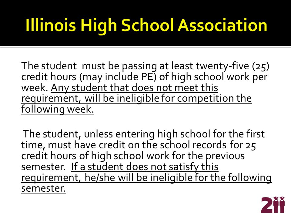 The student must be passing at least twenty-five (25) credit hours (may include PE) of high school work per week.