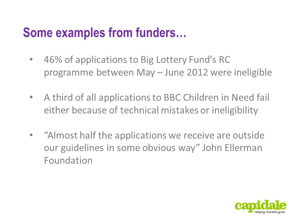 Some examples from funders… 46% of applications to Big Lottery Fund's RC programme between May – June 2012 were ineligible A third of all applications