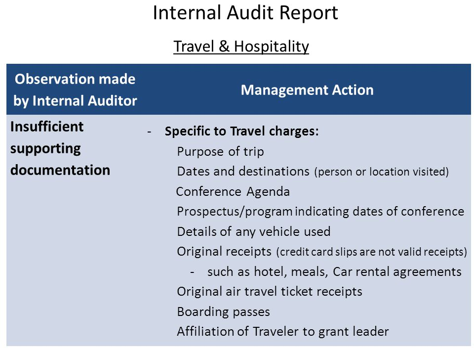 Travel & Hospitality Internal Audit Report Observation made by Internal Auditor Management Action Insufficient supporting documentation -Specific to T