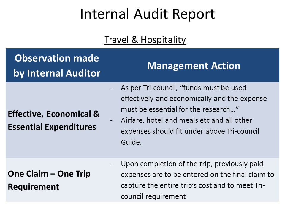 Travel & Hospitality Internal Audit Report Observation made by Internal Auditor Management Action Effective, Economical & Essential Expenditures -As p