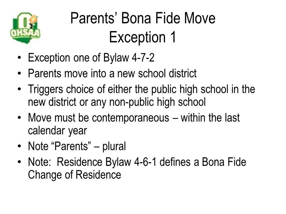 Parents' Bona Fide Move What should the school administrator do.