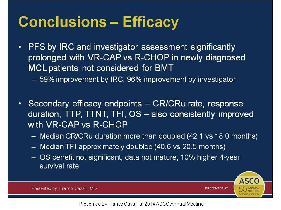 Conclusions – Efficacy Presented By Franco Cavalli at 2014 ASCO Annual Meeting