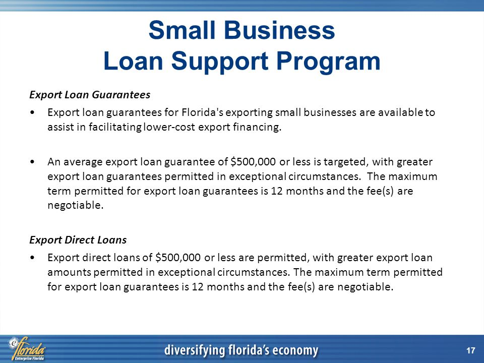 17 Small Business Loan Support Program Export Loan Guarantees Export loan guarantees for Florida s exporting small businesses are available to assist in facilitating lower-cost export financing.
