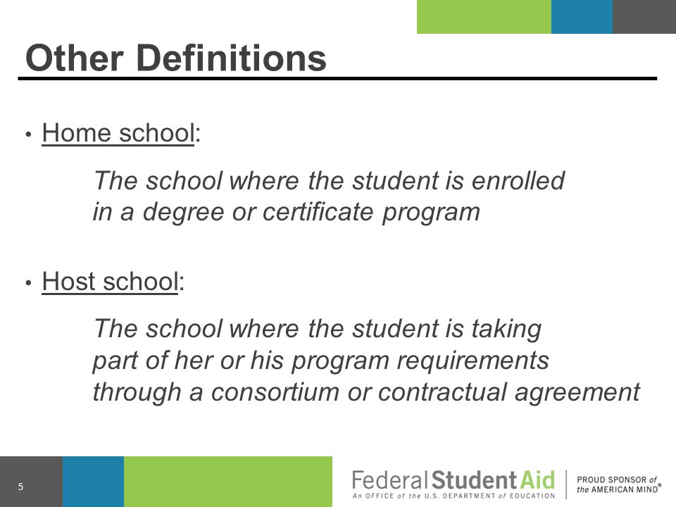 Purpose Consortium and contractual agreements allow students to receive Title IV aid to take advantage of educational opportunities outside of the home school.