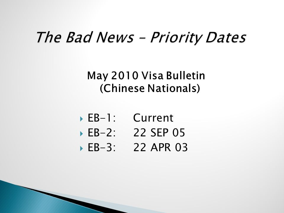 May 2010 Visa Bulletin (Chinese Nationals)  EB-1:Current  EB-2:22 SEP 05  EB-3:22 APR 03