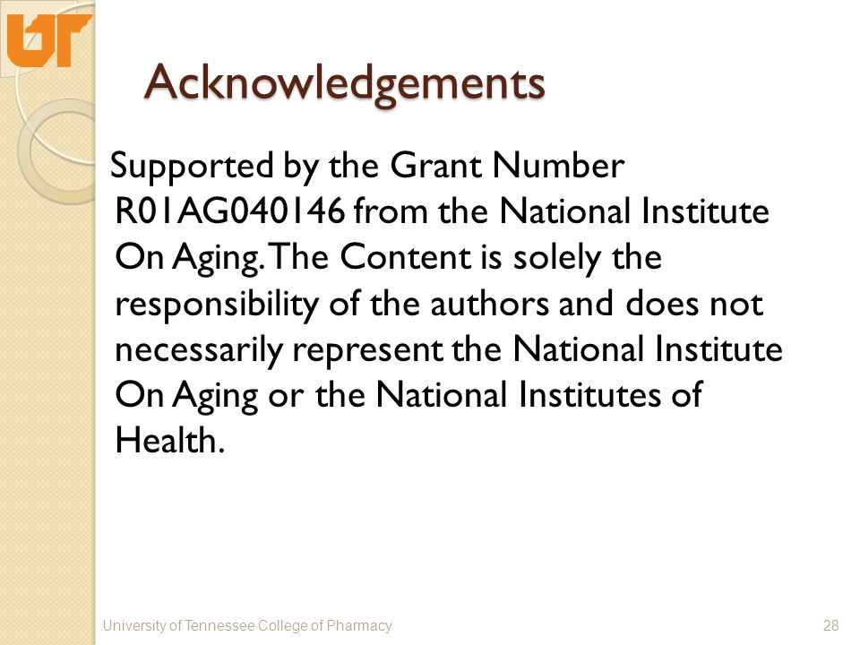 Acknowledgements Supported by the Grant Number R01AG040146 from the National Institute On Aging.